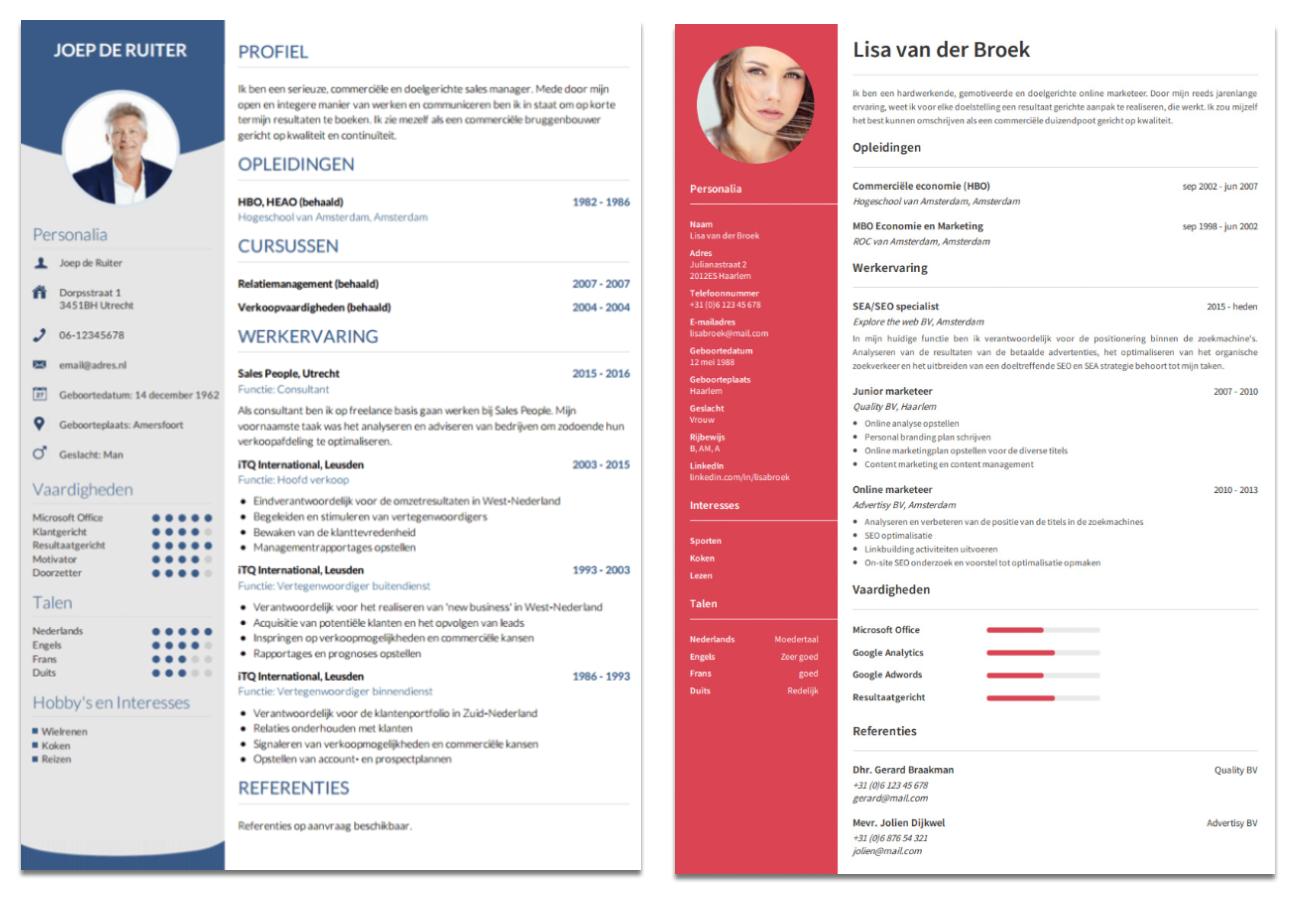 voorbeeld cv's met pasfoto