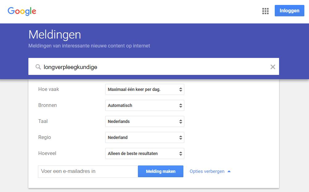 google alerts vacatures