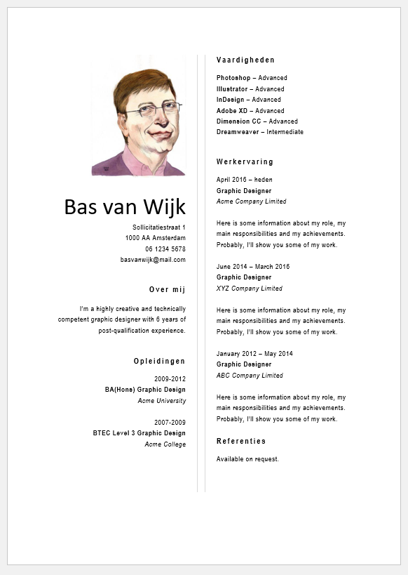 gratis cv template word