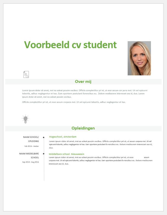 gratis cv template student