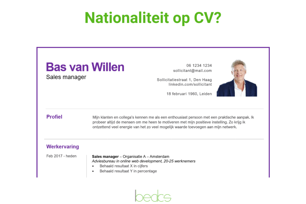 nationaliteit cv