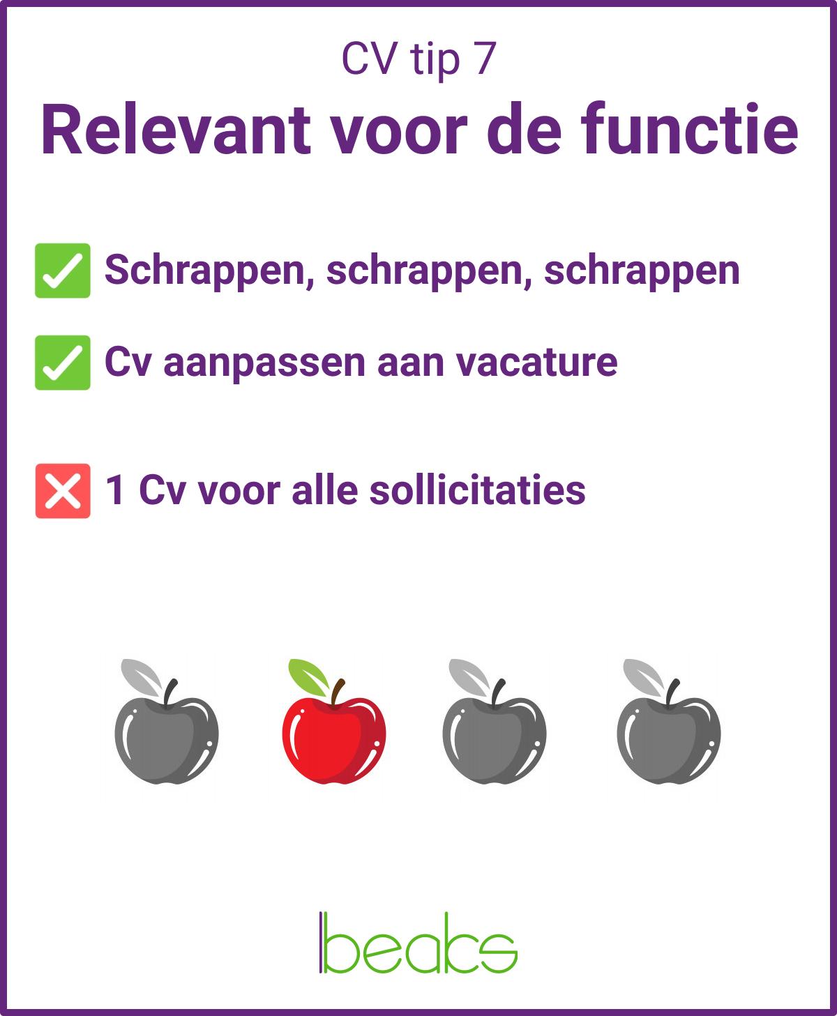 CV tip 7 Relevant voor de functie