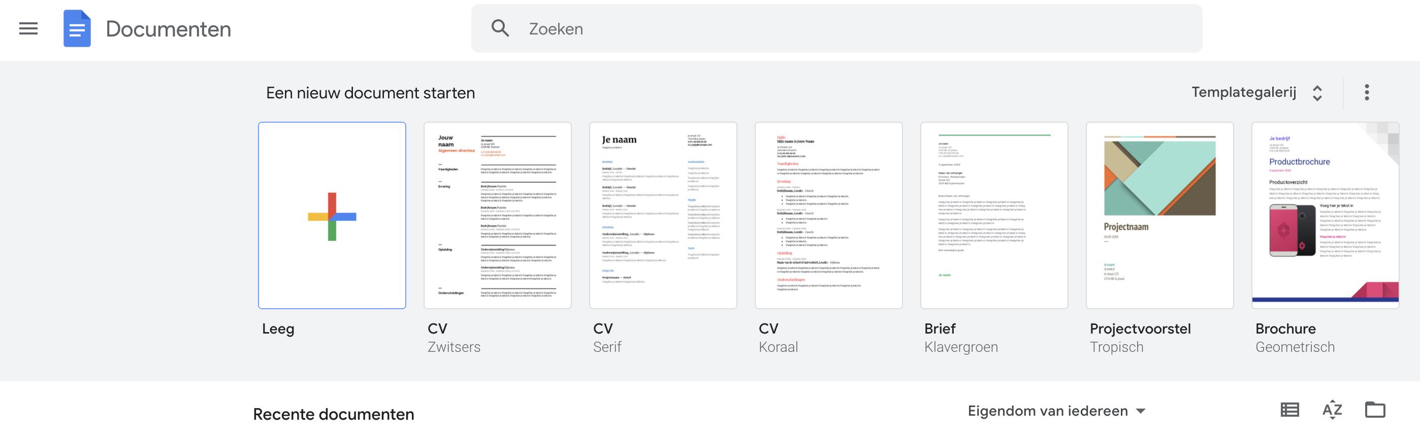 Google Docs cv maken